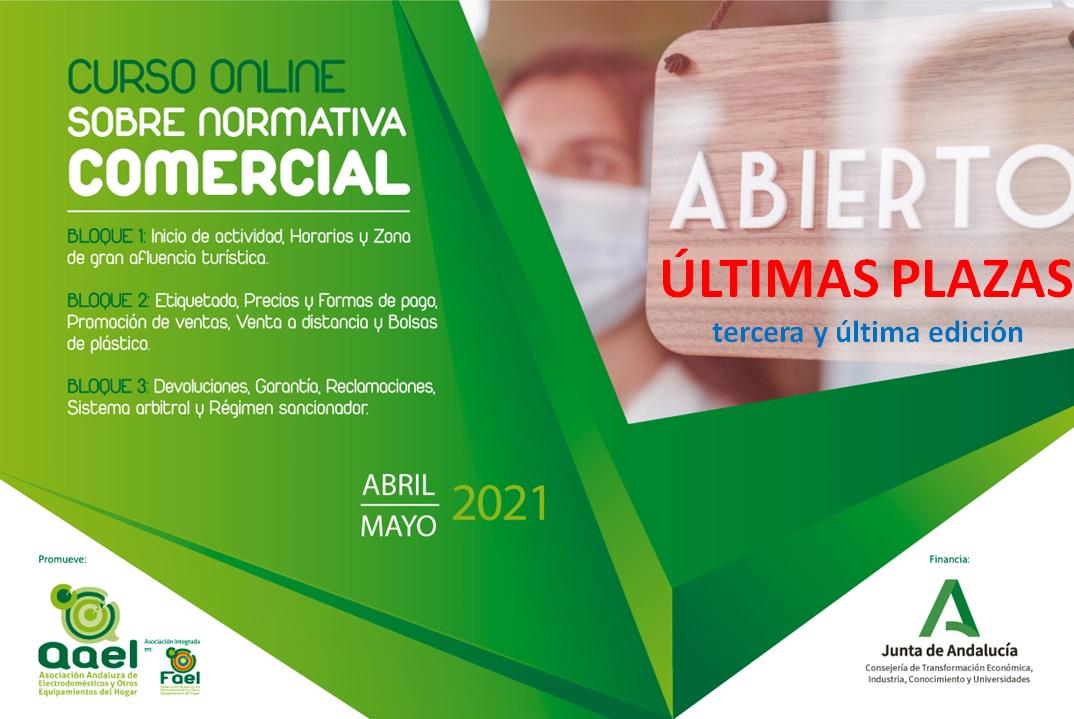 Curso Online sobre Normativa Comercial aplicable en Andalucía puesto en marcha por AAEL